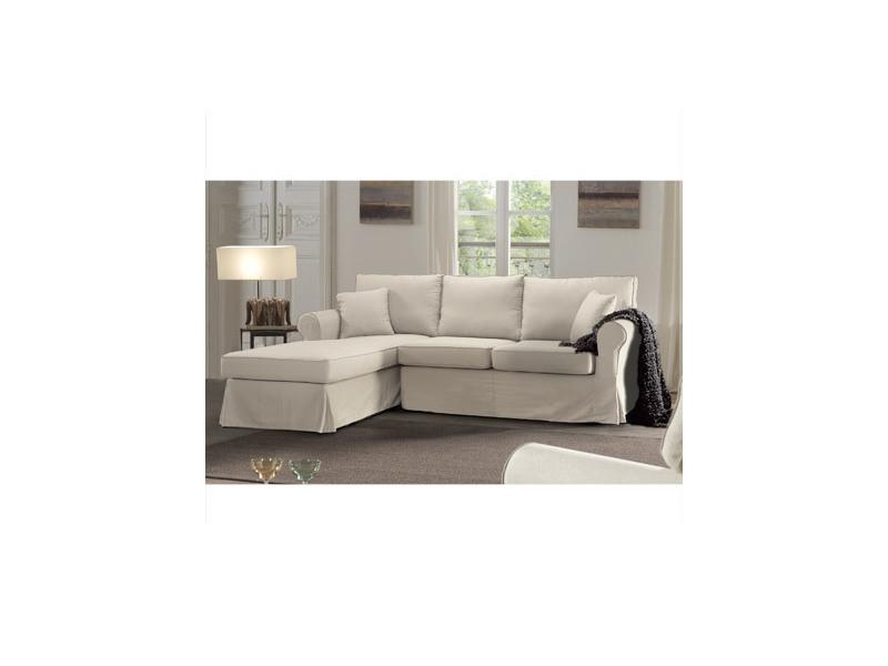 Canapé d'angle à gauche fixe en tissu écru - jaipur