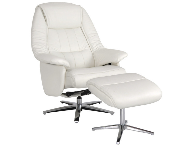 Fauteuil relax turin + pouf cuir blanc