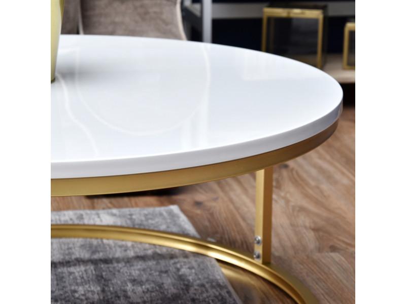 Table Basse Table De Salon Kodia Blanc Or 60 Cm Table