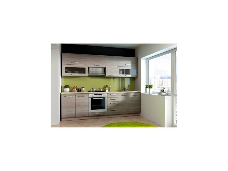 Aude meuble haut vitre de cuisine l 80 cm - décor chene ...