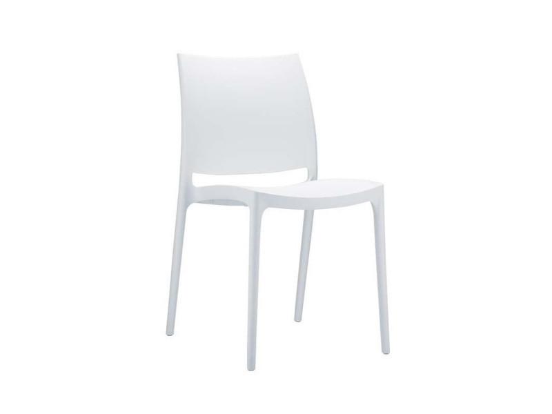Chaise de jardin empilable en plastique blanc - 81 x 44 x 50 cm -pegane-