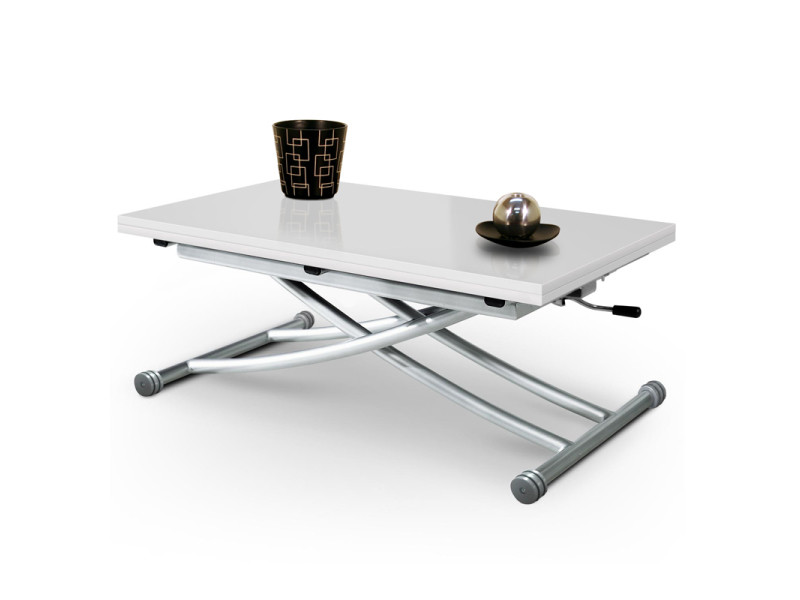 Table basse relevable mirage dessus verre blanc
