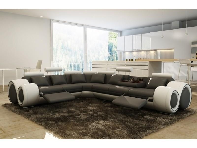Canapé d'angle cuir gris et blanc + positions relax oslo (gauche)-