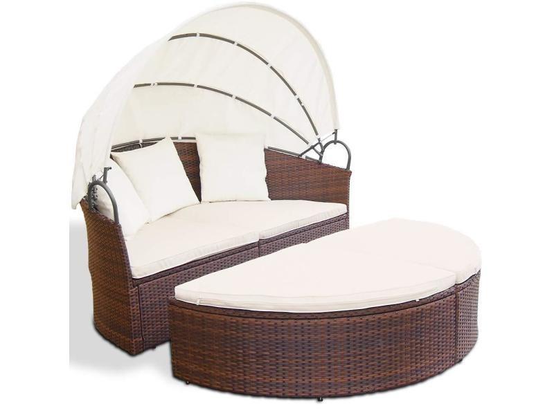 Salon de jardin lit bain de soleil canapé rond transat résine tressé ...