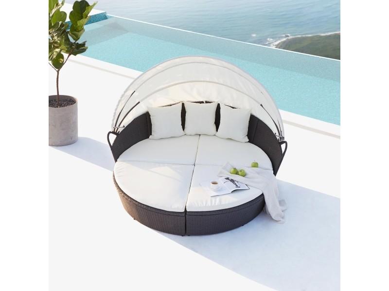 Cocoon : salon de jardin modulable 6/8 personnes en résine tressée ...