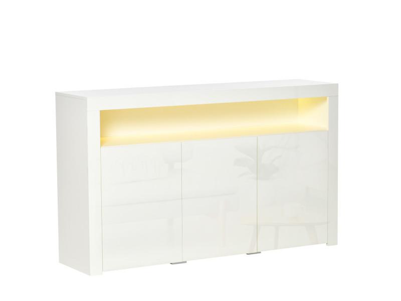 Homcom buffet led - meuble de rangement led - 3 placards avec étagère et grande niche - panneaux particules mdf blanc laqué