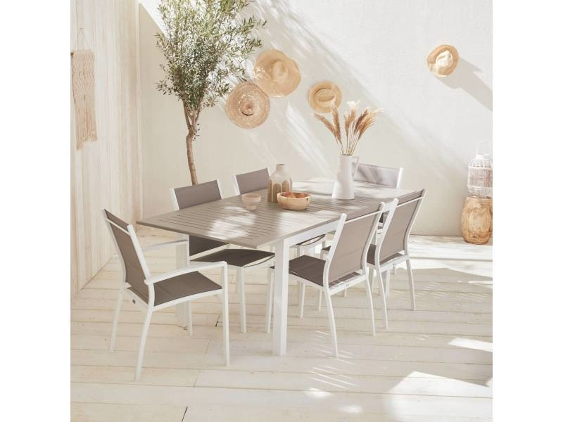 Salon de jardin table extensible - chicago 210 taupe - table ...