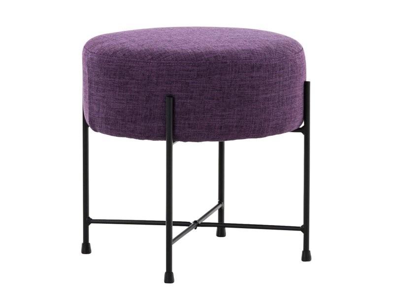Tabouret violet rond pieds en tissu repose et métal noir FKT1lJc3