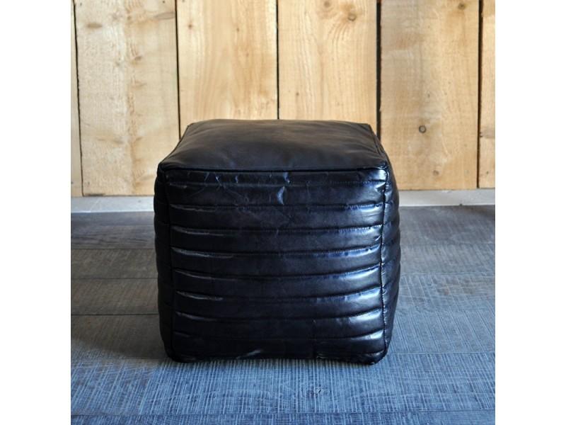 Pouf lery cuir noir 40x38 cm