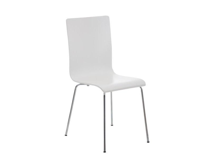 Lot de 4 chaises de cuisine en bois blanc et métal cds10162