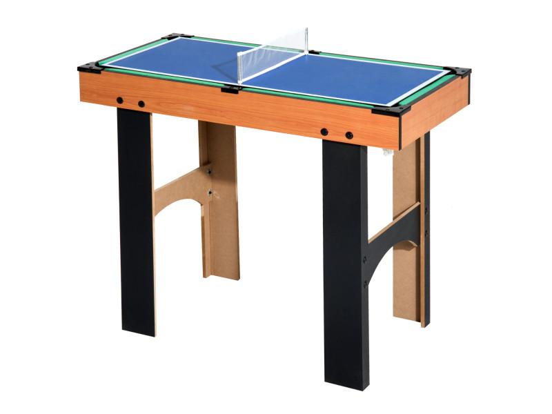 9e4fb444f8f56 Table multi jeux 4 en 1 babyfoot billard air hockey ping-pong avec  accessoires mdf bois 87 x 43 x 73 cm