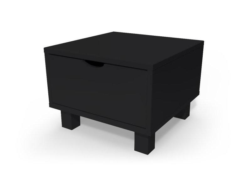 Chevet cube tiroir bois noir CHEVCUB-N