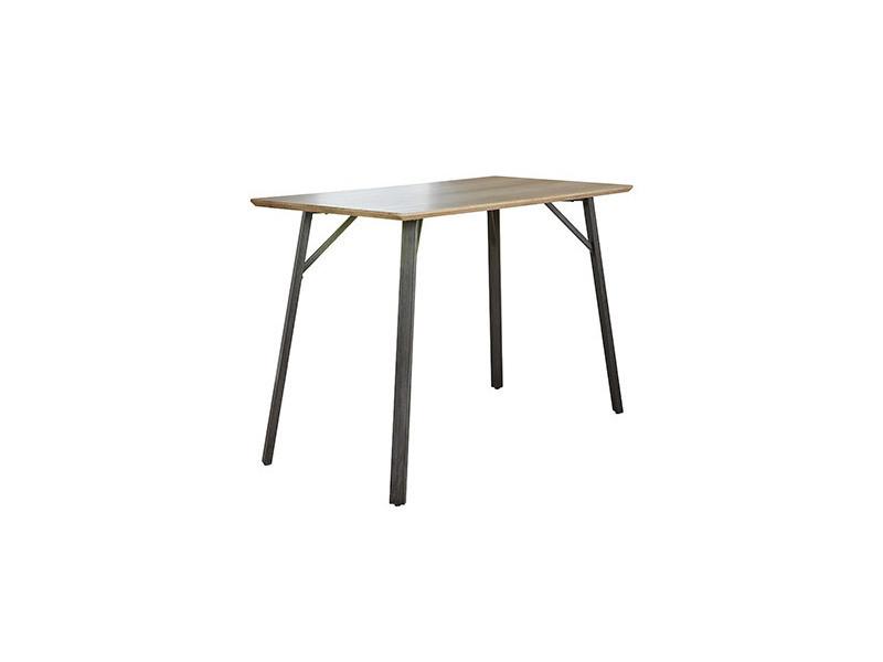 Table de bar 140x70x92cm mdf et acier - décor chêne