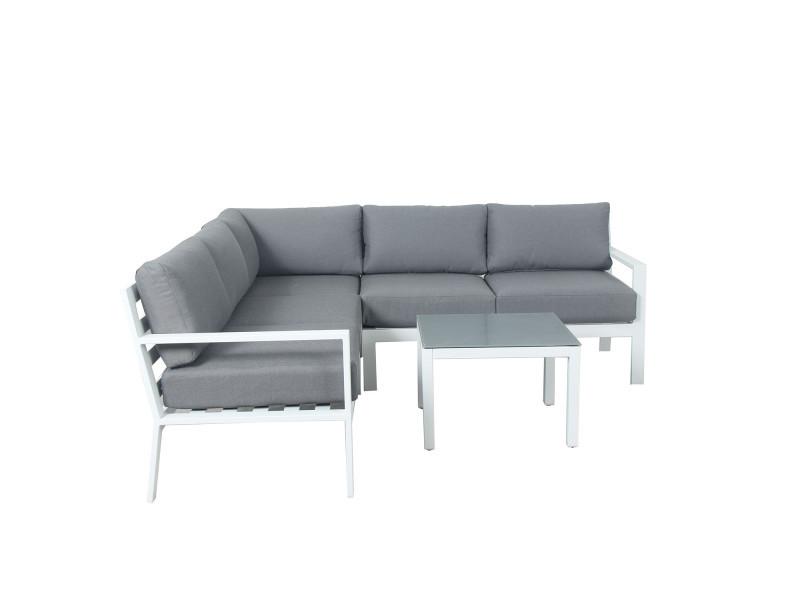 Mio - salon de jardin design aluminium - blanc gris - intérieur ...