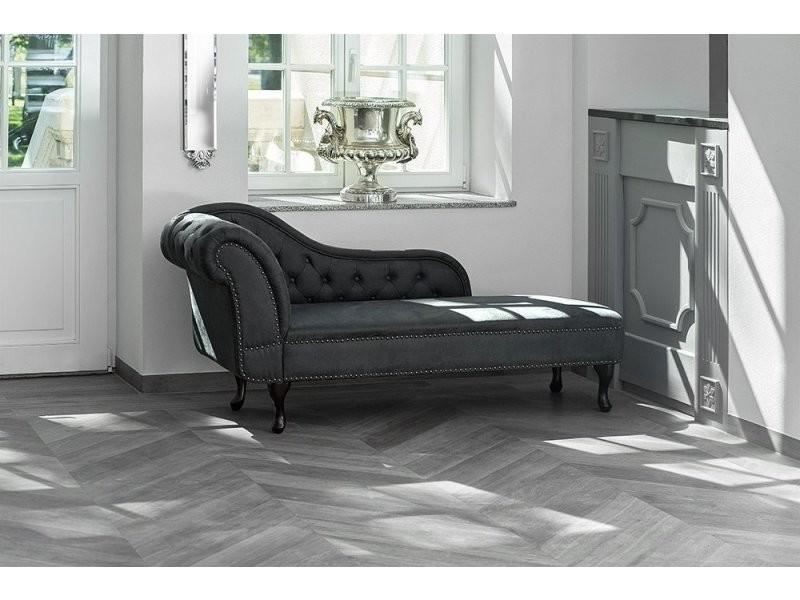 Chaise longue Chesterfield grise en daim NIMES |