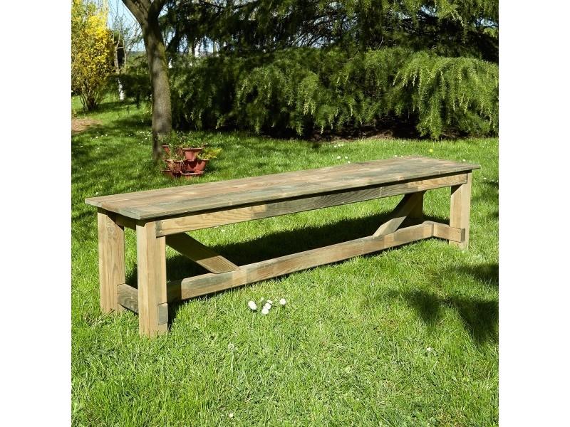 Banc de jardin 3 places en bois traité autoclave, normand - Vente de ...