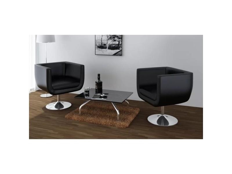 Icaverne - fauteuils club, fauteuils inclinables et chauffeuses lits ensemble chaise de bar 2 pcs cuir artificiel noir