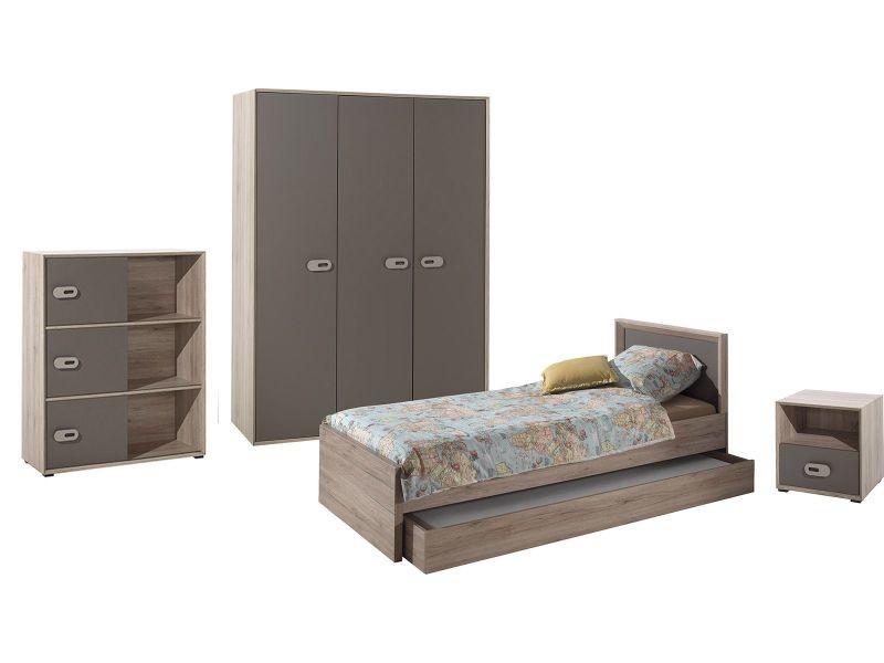 Ensemble complet 5 pièces pour chambre moderne avec lit 90x200 cm ...