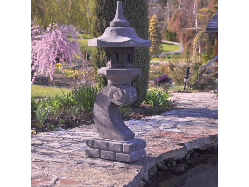 Lanterne japonaise en pierre de lave 90 cm lampe jardin ...