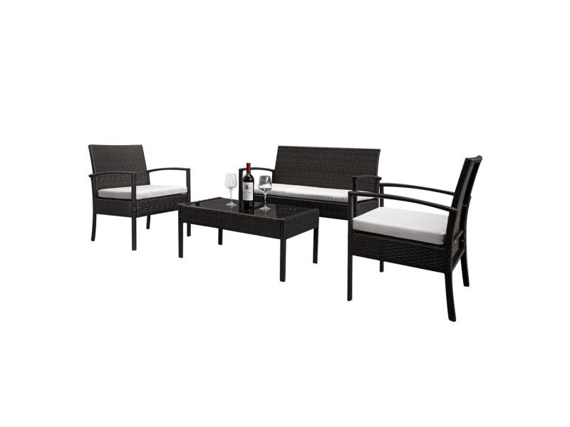 Salon de jardin 2 pièces fauteuils 1 pièce causeuse et table basse en verre trempé ensemble de canapés en rotin dégradé marron Talkeach