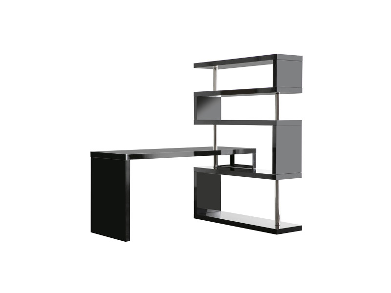 Bureau design noir laqué amovible t max vente de bureau conforama