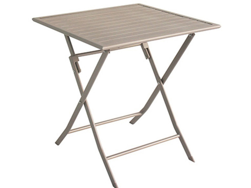 Table de jardin en aluminium carré coloris taupe mat - dim : 70 x 70 ...