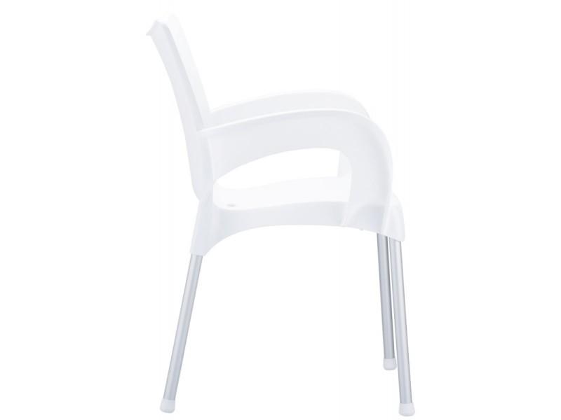 Chaise de jardin ou cuisine en plastique blanc avec - Table et chaise de jardin plastique ...
