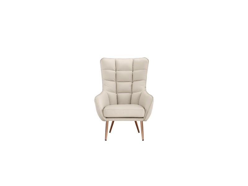 Arya - fauteuil moderne à haut dossier - simili cuir - coloris blanc
