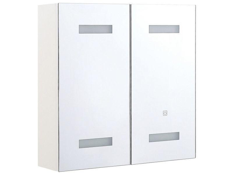 Armoire de toilette blanche avec miroir led 60 x 60 cm talagapa 293095