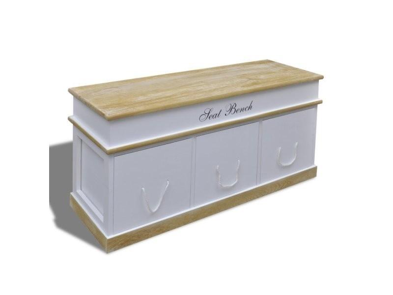 Banquette banc coffre de rangement 100 cm blanc helloshop26 3002017