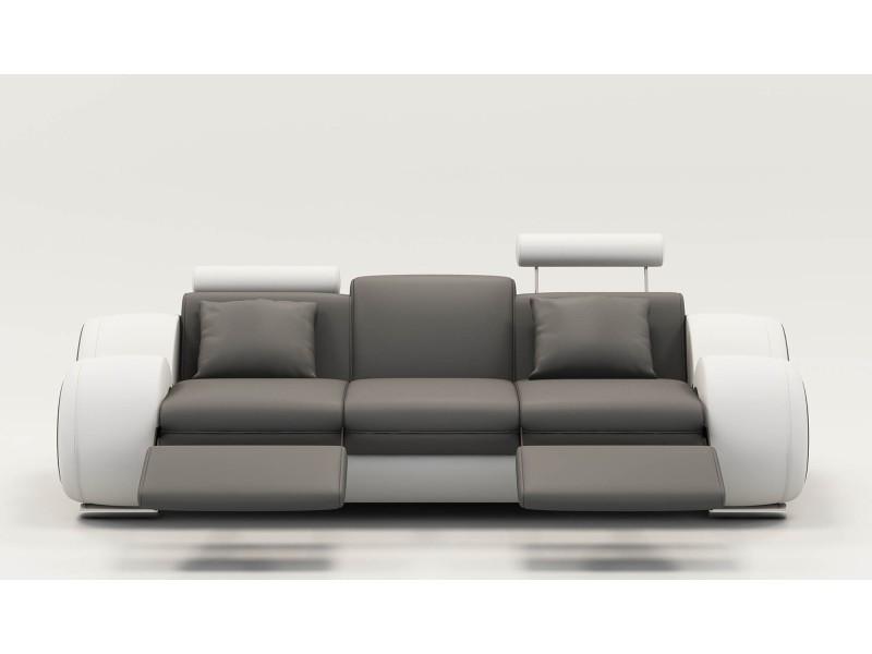 Canapé design 3 places cuir gris et blanc + têtières relax oslo-