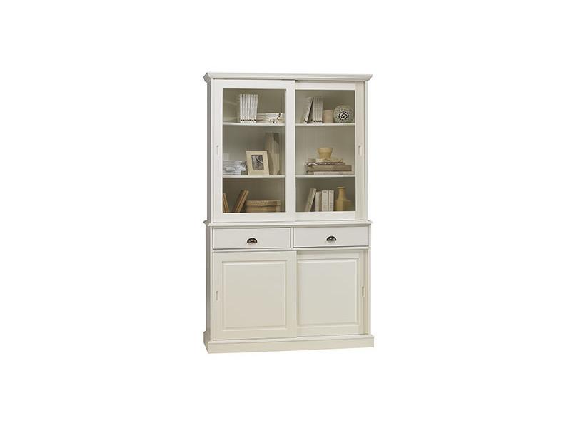 vaisselier blanc - bibliothèque blanche 4 portes coulissantes