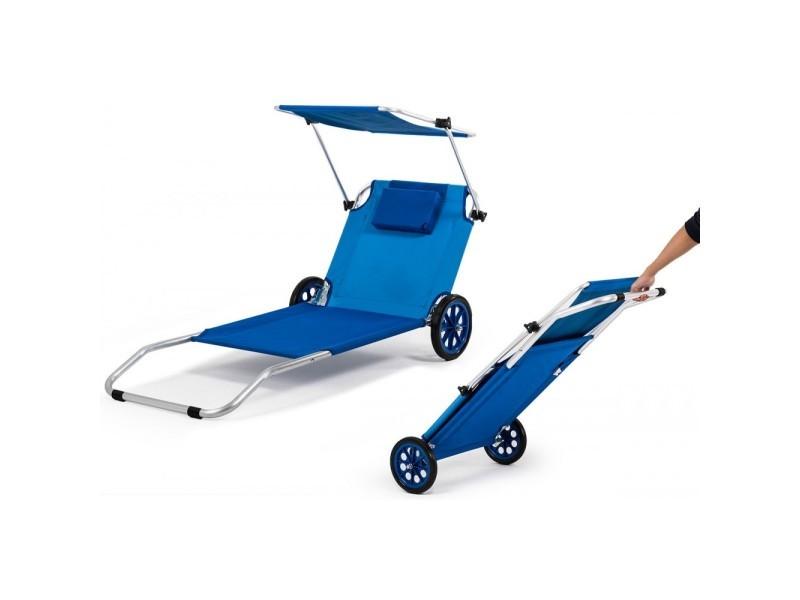 Malibu Transat Chaise De Plage Pliable Parasol Integre Bleu