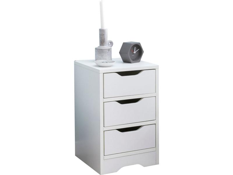 31ad37643d1e7 Chevet - table de nuit blanc design en panneaux de particules mélaminés de  haute qualité avec 3 tiroirs l. 31 x p. 31 x h. 49 cm collection c-attila  ...