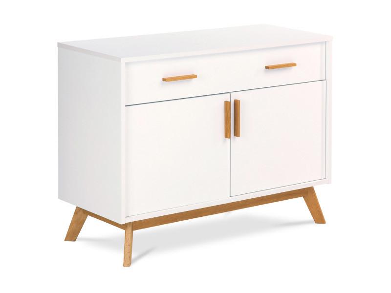 Buffet compact en bois de style scandinave blanc