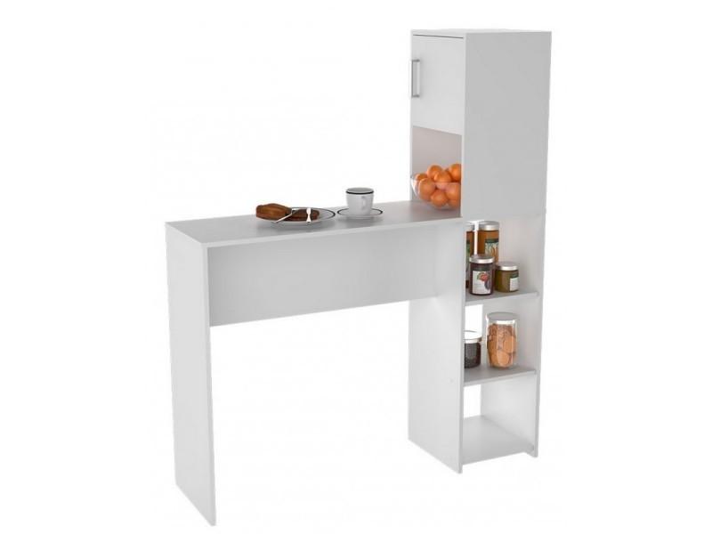 Rangement de cuisine et table blancs