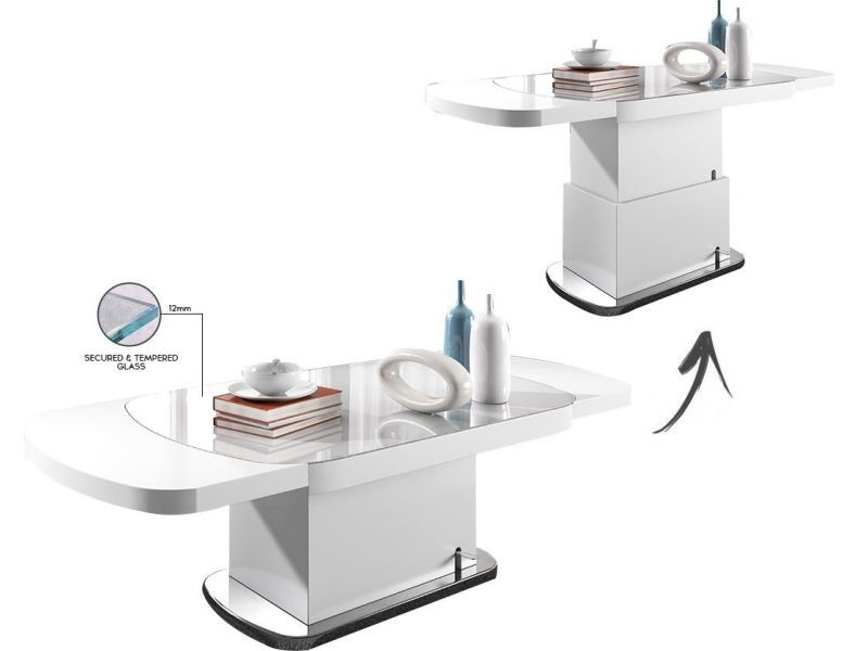 Ovale Table Relevable Design Extensible Blanc Cm 180 Coloris 120 Et mnwN80
