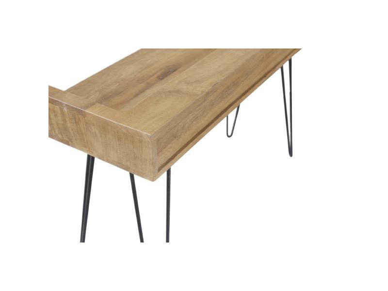 Bureau design en manguier avec pieds épingle métal noir