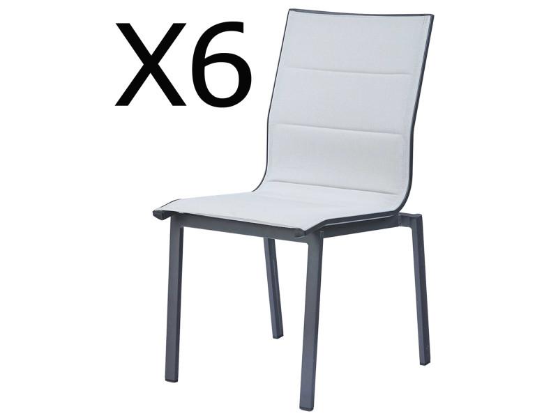 Lot de 6 chaises empilables de jardin en aluminium et polyester, blanc -pegane-