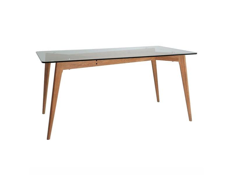 Joplin - table rectangulaire plateau verre et pieds bois
