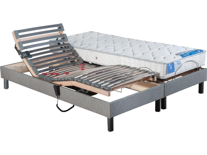 ensemble lit électrique à lattes conforteo tapissier + matelas 100