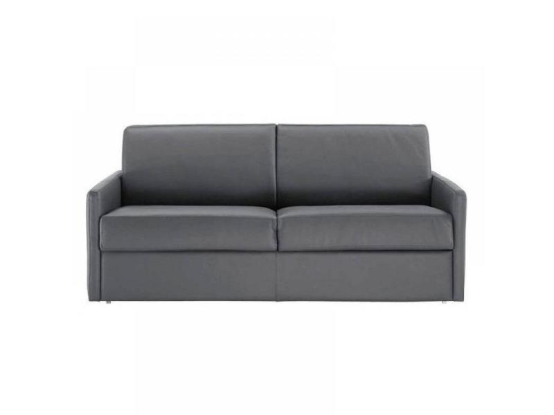 Canapé lit 2-3 places sun convertible rapido 120cm cuir vachette gris matelas épaisseur 16cm 20100828905