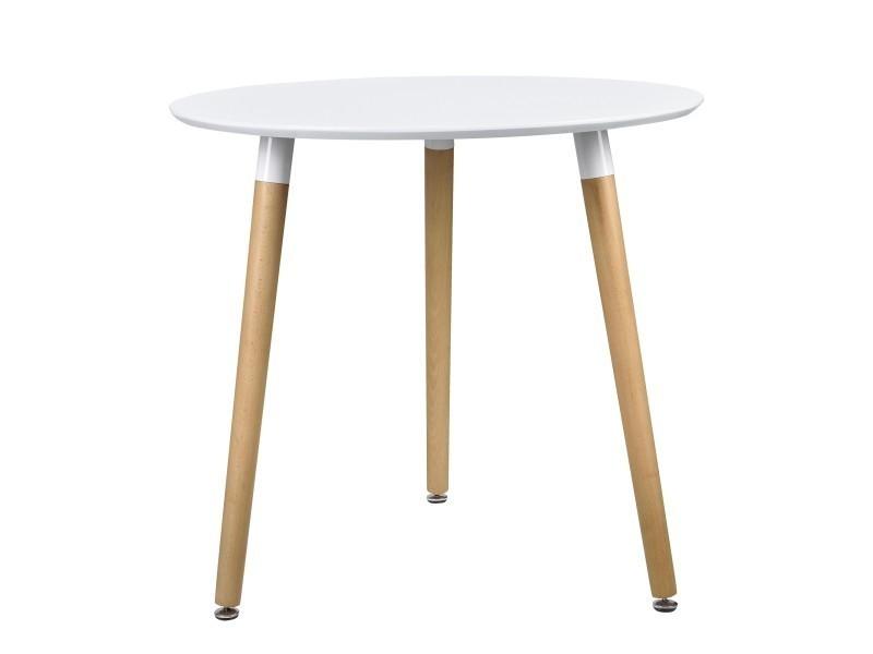 en.casa]® table ronde blanc [h:75cmxø80cm] bois table rétro table de ...