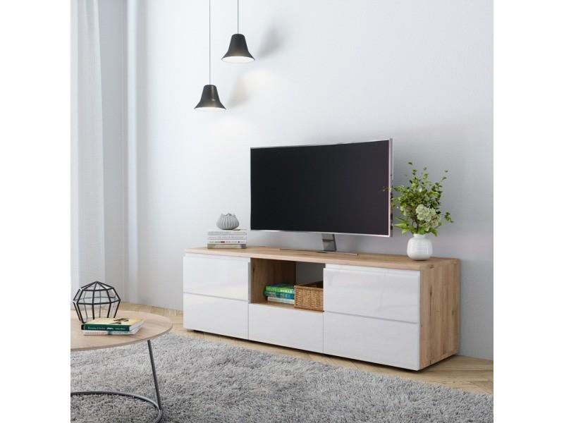 E Com Meuble Tv Sydney 140 Cm Artisan Chene Et Blanc Brillant Vente De Meuble Tv Conforama