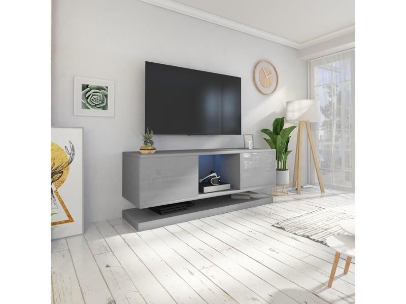 Meuble tv wizz avec led - 140 cm - gris mat / gris brillant - meuble suspendu