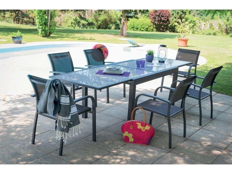 Salon de jardin aluminium et verre 6 fauteuils honfleur - Vente ...