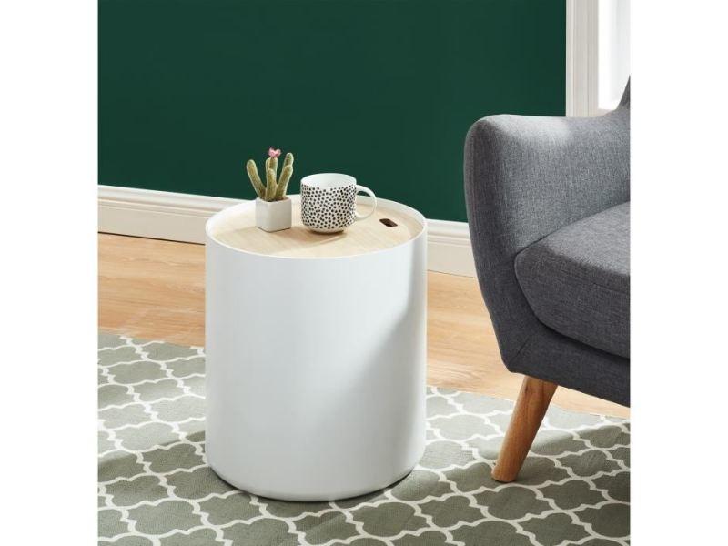 Table d'appoint - table de complement - gueridon poetic table d'appoint ronde style contemporain blanc laqué mat avec plateau placage paulownia - ø 38 cm