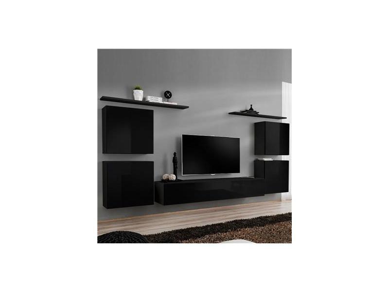 Meuble Tv Mural Noir Donatello 4 Vente De Kasalinea