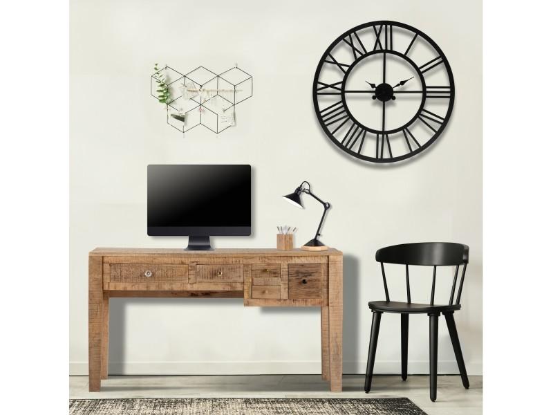 Table console womo-design marron avec 5 tiroirs, 77x136x40 cm, en bois de manguier massif et mdf 390003224