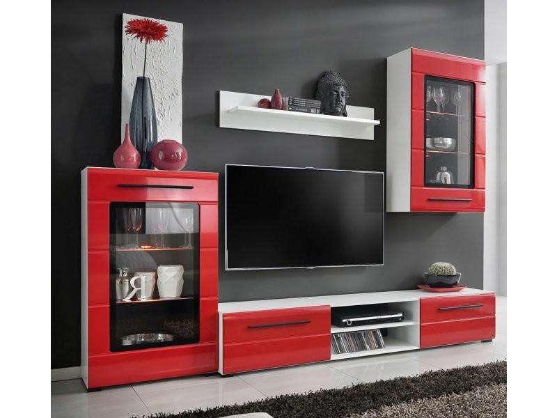 Ensemble meuble tv design - rouge/blanc